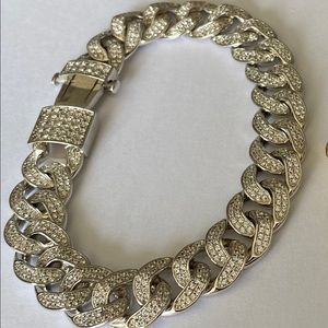 Other - 14k white Cuban link fully iced out bracelet